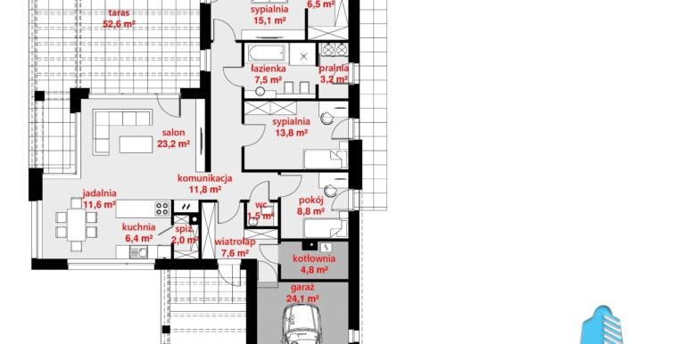 plan parter Casa cu parter si garaj pentru un automobil
