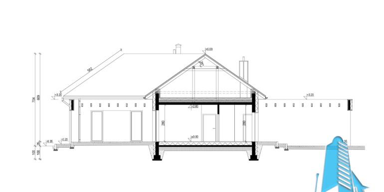 sectiune Casa cu parter si garaj pentru un automobil