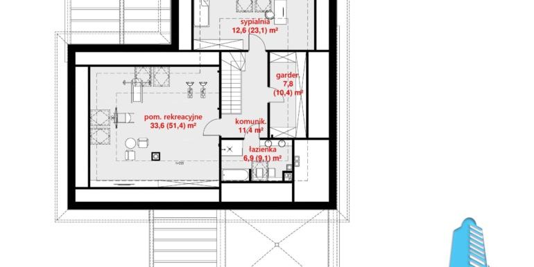 plan mansarda Casa cu parter, pansarda si garaj pentru doua automobile