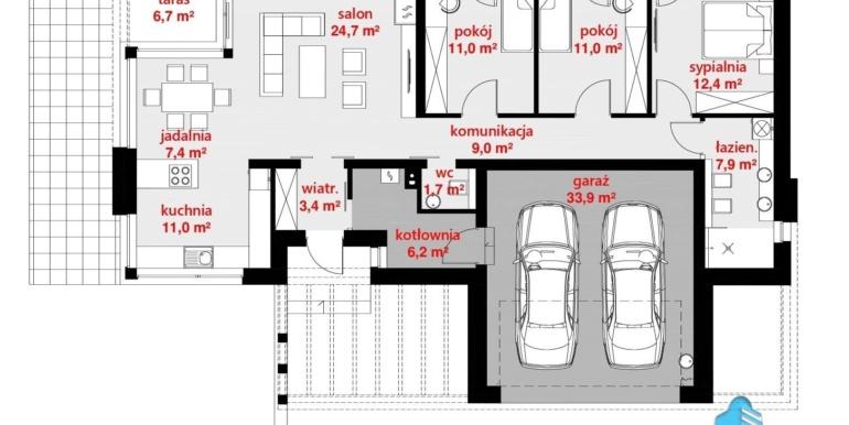 plan parter casa cu parter si garaj pentru doua automobile