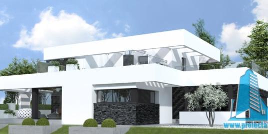 Casa cu parter si etaj cu acoperis plat si garaj pentru doua automobile-330 m2-101007