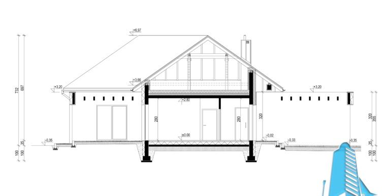 sectiune casa cu parter si garaj pentru 2 automobile
