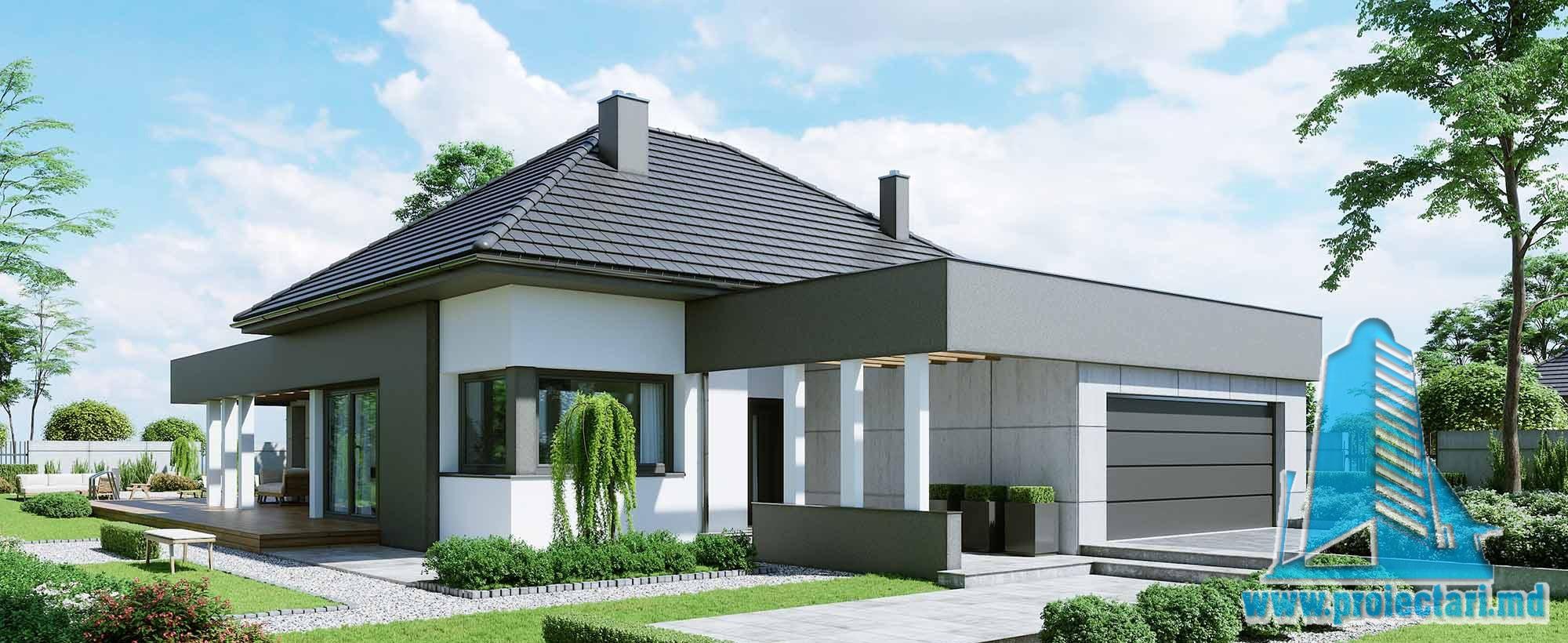 Casa cu parter si garaj pentru doua automobile-199 m2-101026