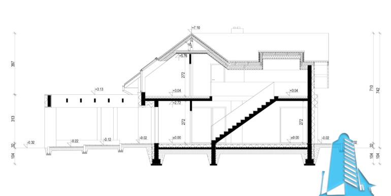 Sectiune Casa cu parter, mansarda si garaj pentru doua automobile