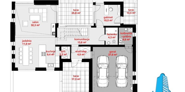 plan parter casa cu parter, manasarda si garaj pentru 2 automobile