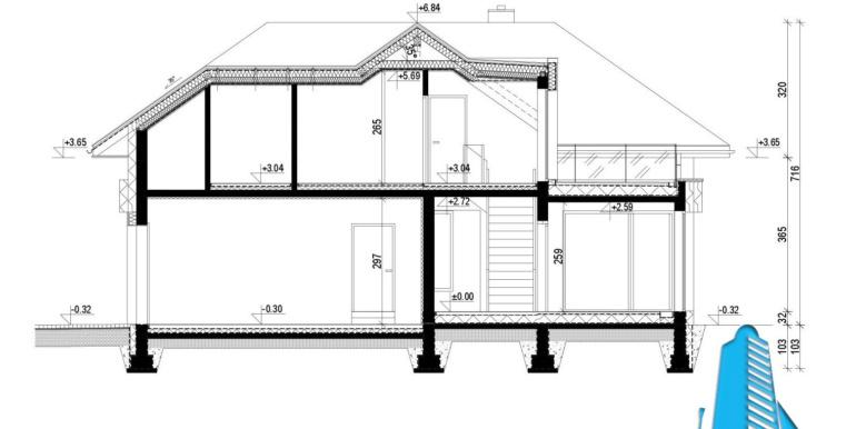 sectiune casa cu parter, manasarda si garaj pentru 2 automobile