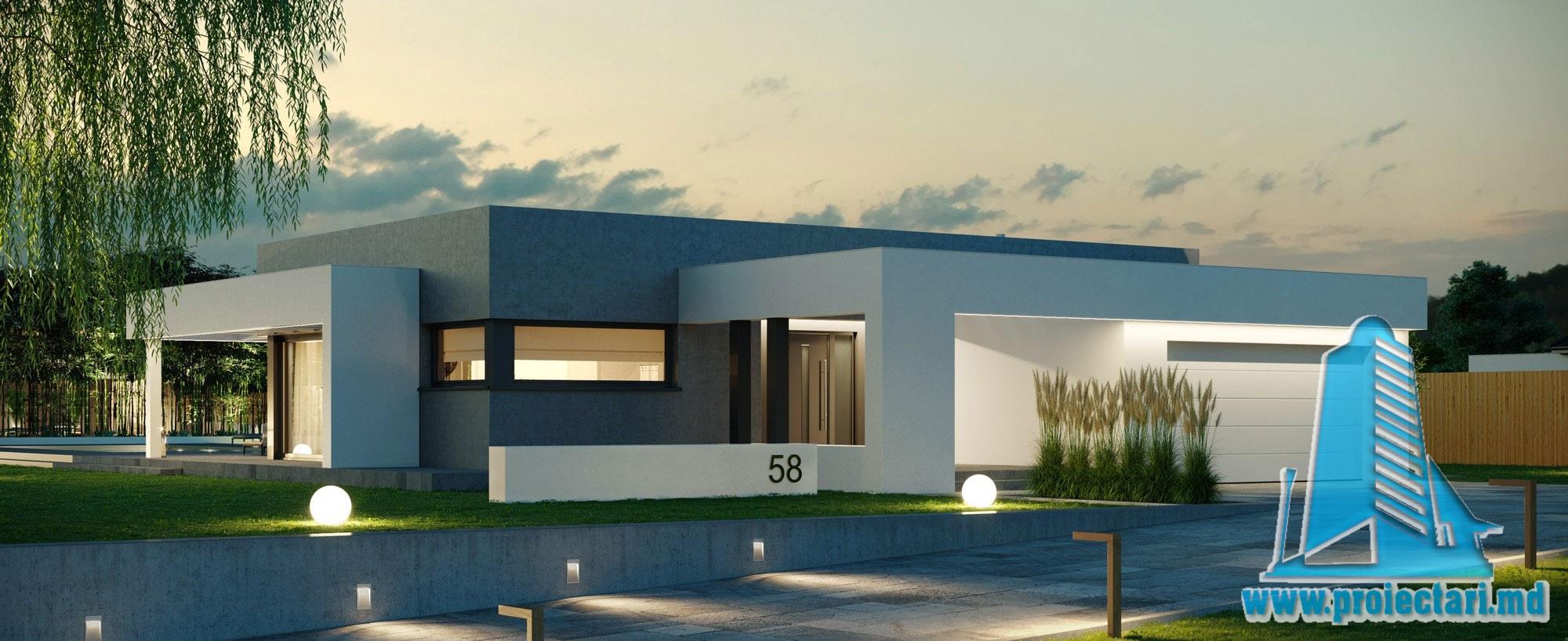 Casa cu parter, acoperis plat si garaj pentru 2 automobile 100992