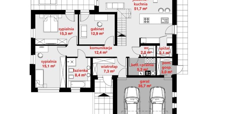 plan parter Casa cu parter, mansarda si garaj pentru doua automobile