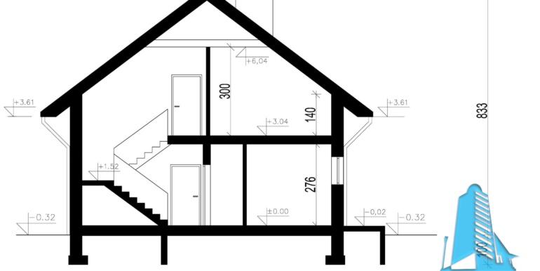 Casa cu parter, mansarda si faraj pentru un automobil