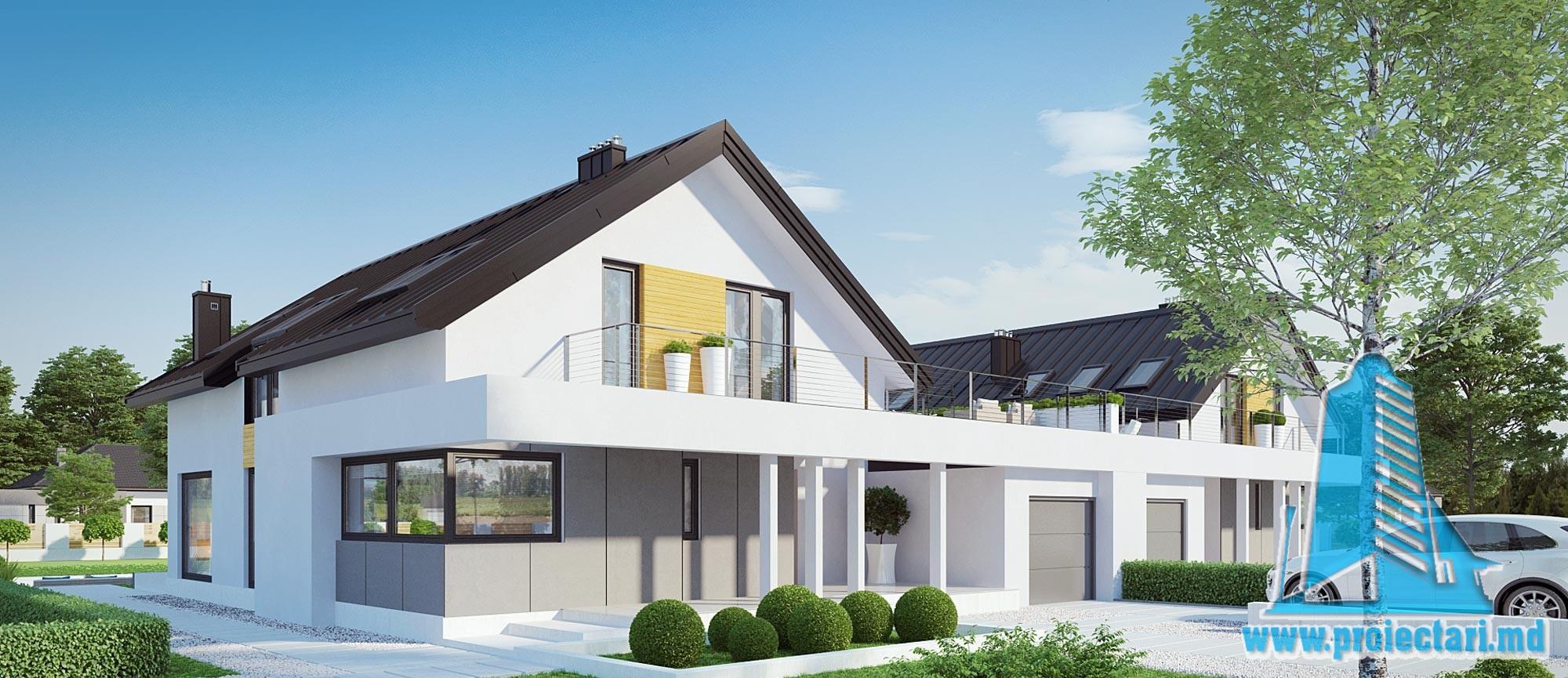 Casa duplex cu parter, mansarda si garaj pentru un automobil-285-101058