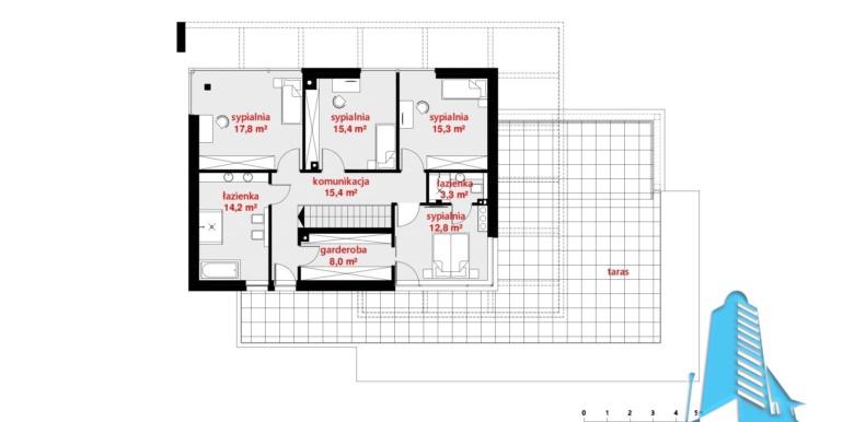 plan etaj Casa cu parter, etaj si garaj pentru doua automobile