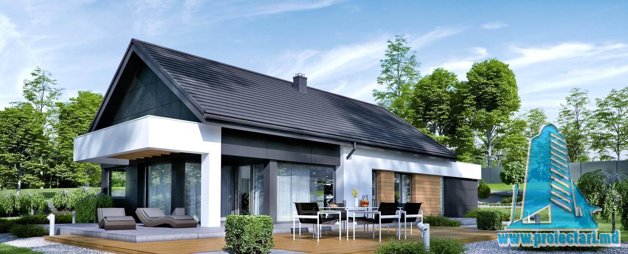 Casa cu parter si garaj pentru un automobil-171 m2-101038