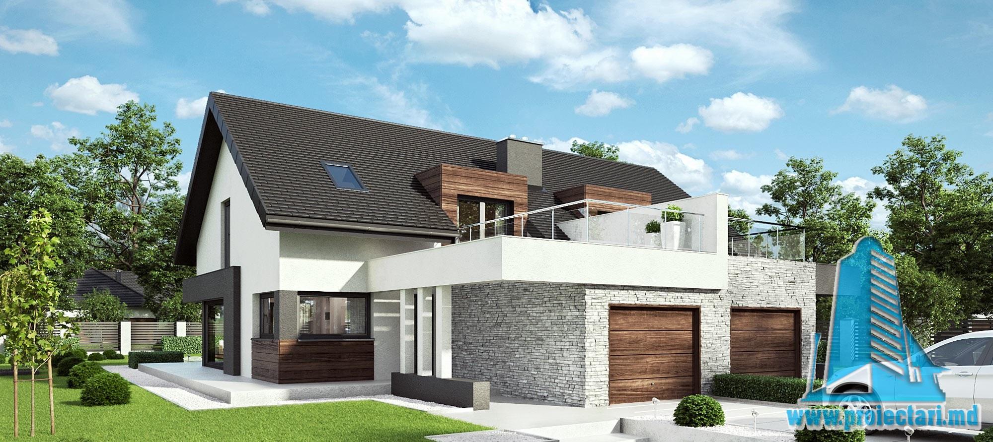 Casa duplex cu parter, mansarda si garaj pentru un automobil-126-101036