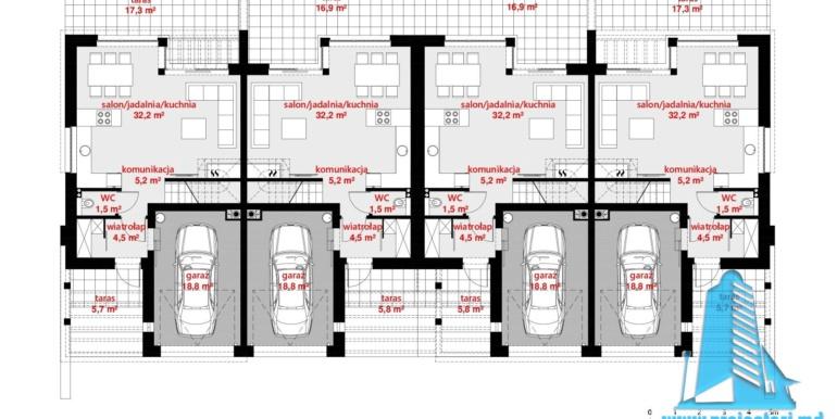 plan parter casa multifamiliala cu parter, etaj si garaj pentru un automobil