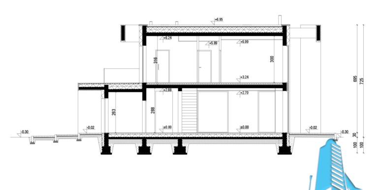 sectiune Casa cu parter, etaj si garaj pentru doua automobile