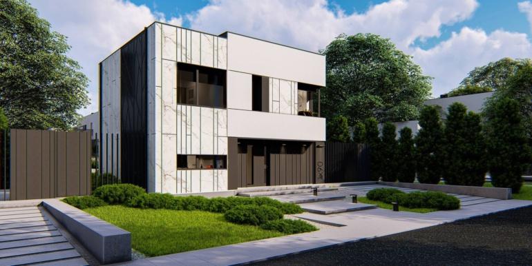 1 Proiect de casa cu doua etaje, acoperis plat si garaj pentru un automobil