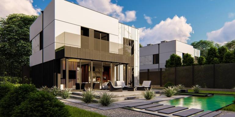 2 Proiect de casa cu doua etaje, acoperis plat si garaj pentru un automobil2