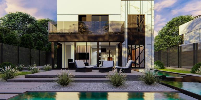 3 Proiect de casa cu doua etaje, acoperis plat si garaj pentru un automobil