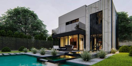 Proiect de casa cu doua etaje, acoperis plat si garaj pentru 1 automobil – 101070