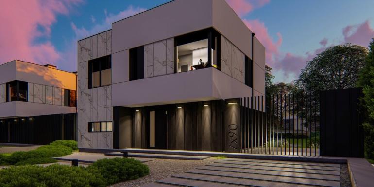 5 Proiect de casa cu doua etaje, acoperis plat si garaj pentru un automobil