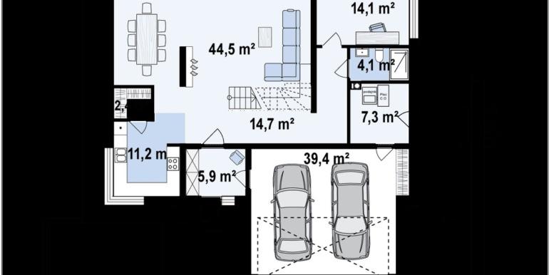 Plan Parter Proiect de casa cu parter si etaj si garaj pentru doua masini