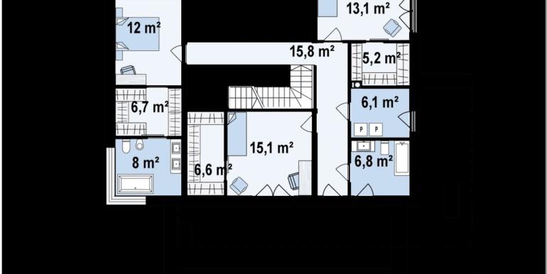 Plan etaj Proiect de casa cu parter si etaj si garaj pentru doua masini
