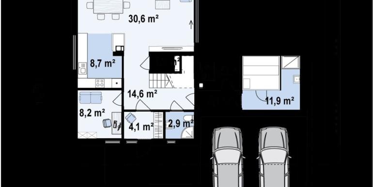 Plan parter proiect de casa cu doua etaje