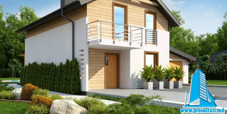 Proiect de casa cu doua etaje si facura lemnoasa si garaj pentru doua automobile