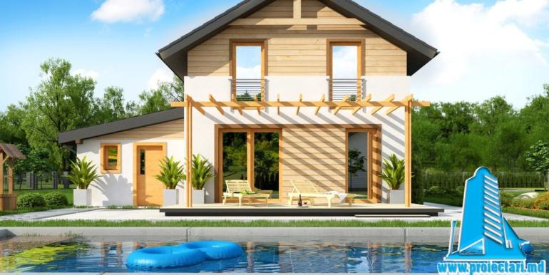 Proiect de casa cu doua etaje si facura lemnoasa si garaj pentru doua automobile bazin