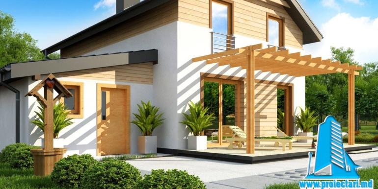 Proiect de casa cu doua etaje si facura lemnoasa si garaj pentru doua automobile cazangerie