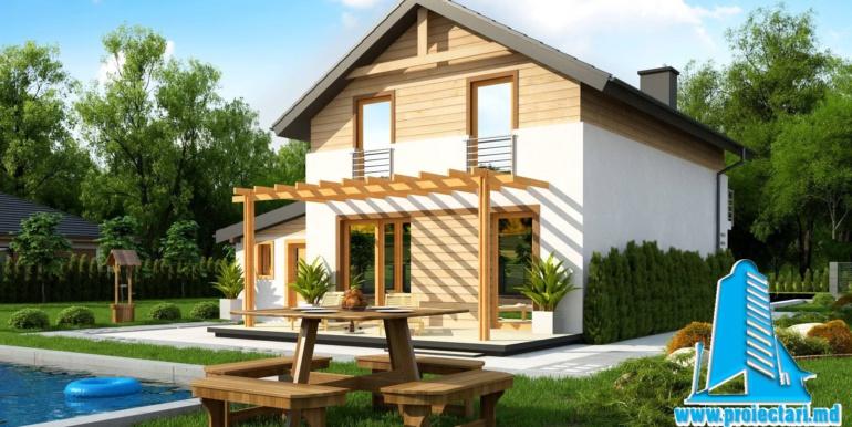Proiect de casa cu doua etaje si facura lemnoasa si garaj pentru doua automobile terasa