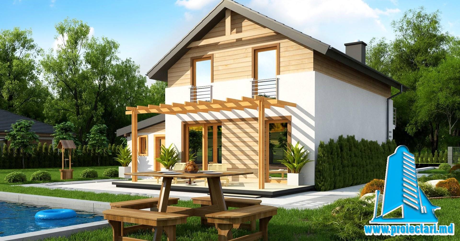 Proiect Terasa Lemn.Proiect Casa Cu Doua Etaje Garaje Pentru Un Automobil Si Terasa De