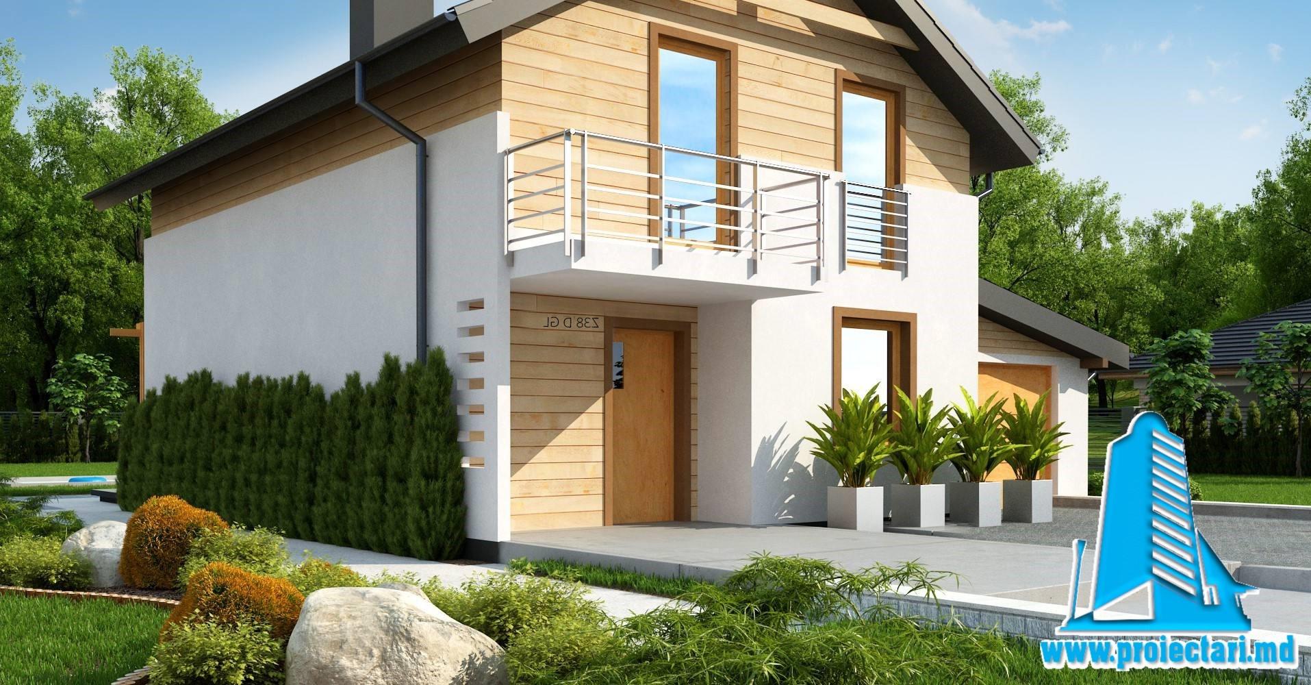 Proiect Casa cu doua etaje, garaje pentru un automobil si terasa de vara-200m2-101068