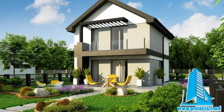 Proiect de casa cu doua etaje si terasa de vara