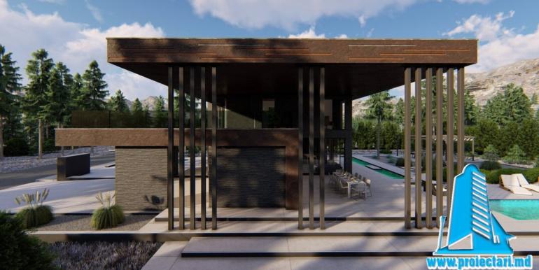 Proiect de casa cu parter etaj si acoperis plat