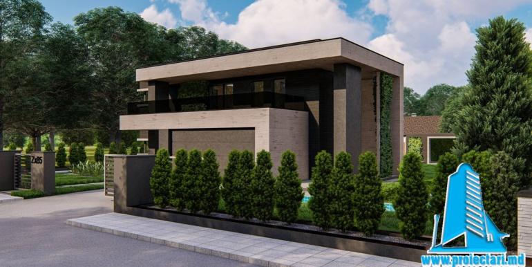 Proiect de casa cu parter si etaj si garaj pentru doua masini 180
