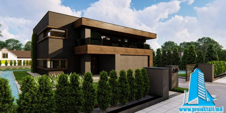 Proiect de casa cu parter si etaj si garaj pentru doua masini 200