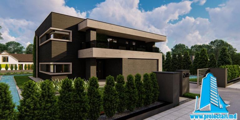 Proiect de casa cu parter si etaj si garaj pentru doua masini