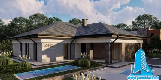 Proiect Casa cu parter si garaj pentru doua automobile cu terasa de vara-300m2-101073