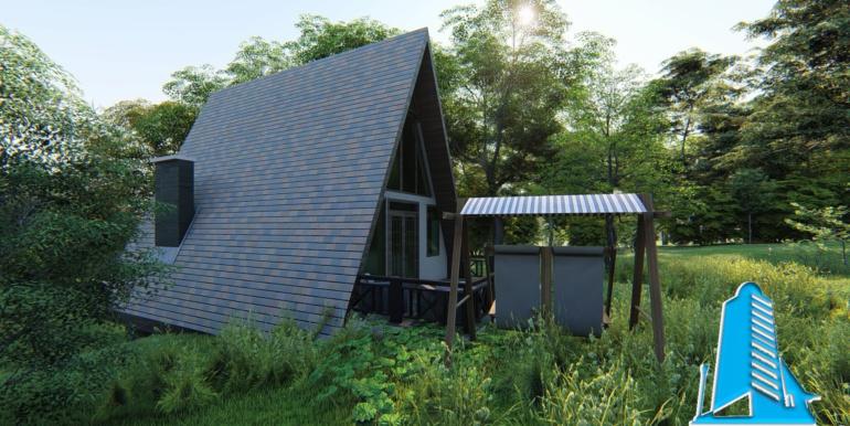 Vila-cabana din lemn cu acoperis ascutit de tip finlandez pe structura de beton 1
