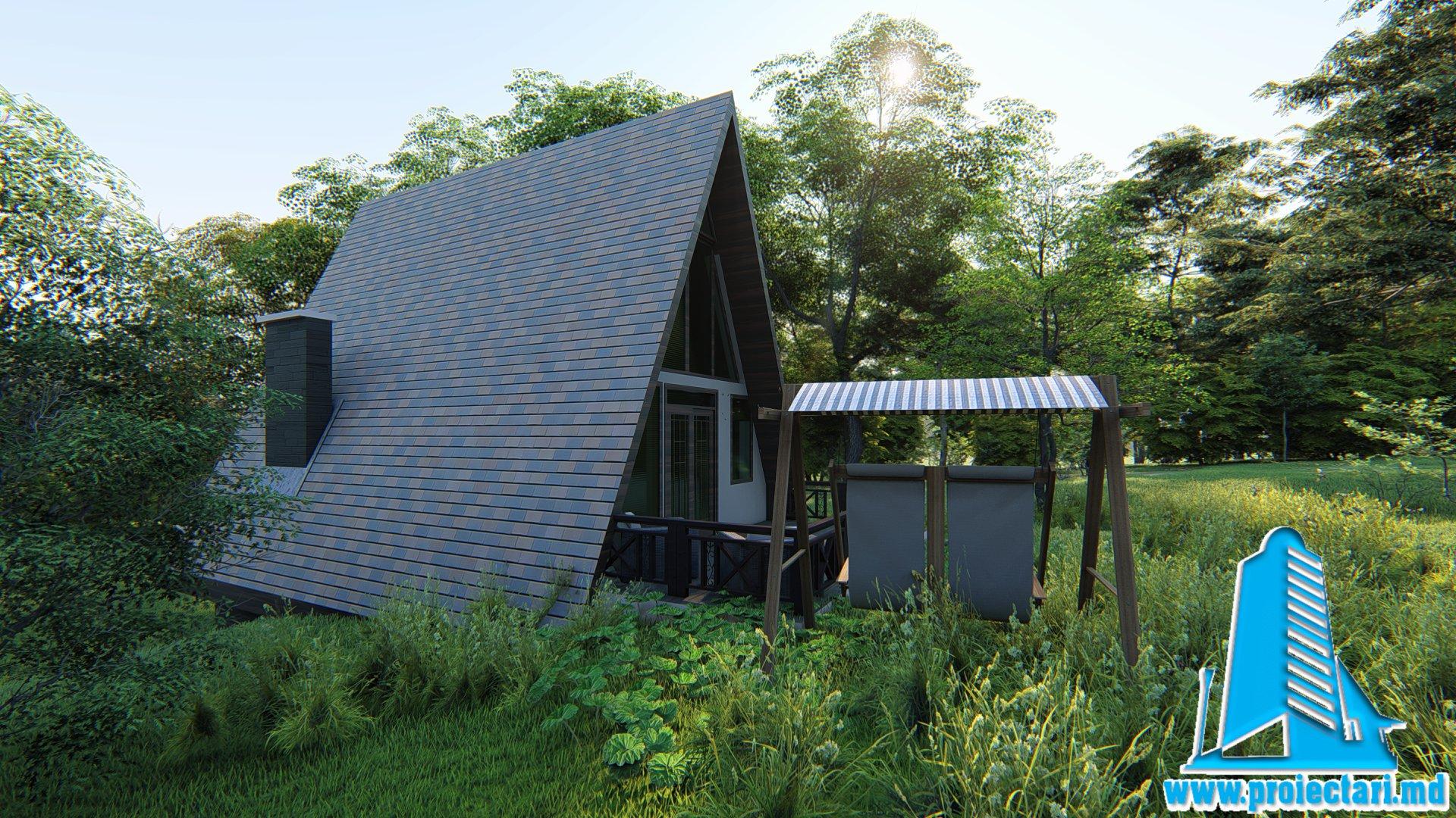 Vila Cabana Din Lemnarie Cu Acoperis Ascutit De Tip Finlandez Pe Structura Din Beton 101062 Proiectari Si Constructii