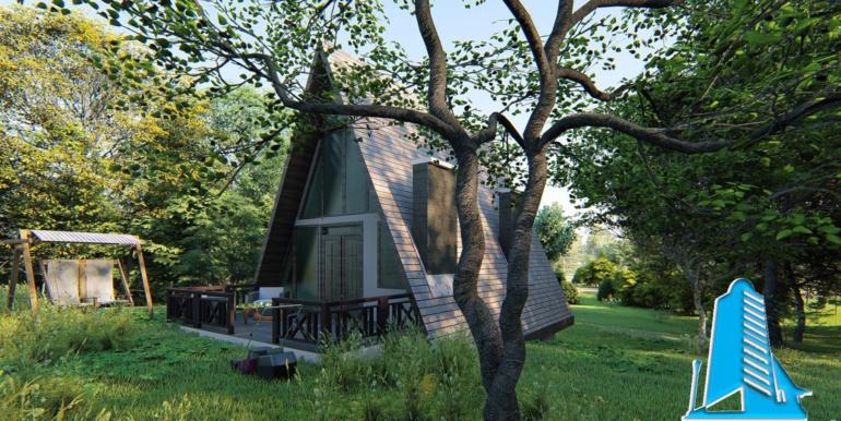 Vila-cabana din lemn cu acoperis ascutit de tip finlandez pe structura de beton