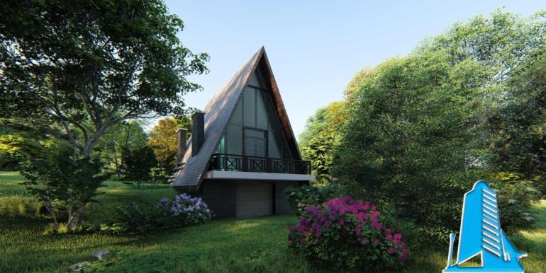 casa de livada cu acoperis ascutit de tip finlandez pe structura de beton
