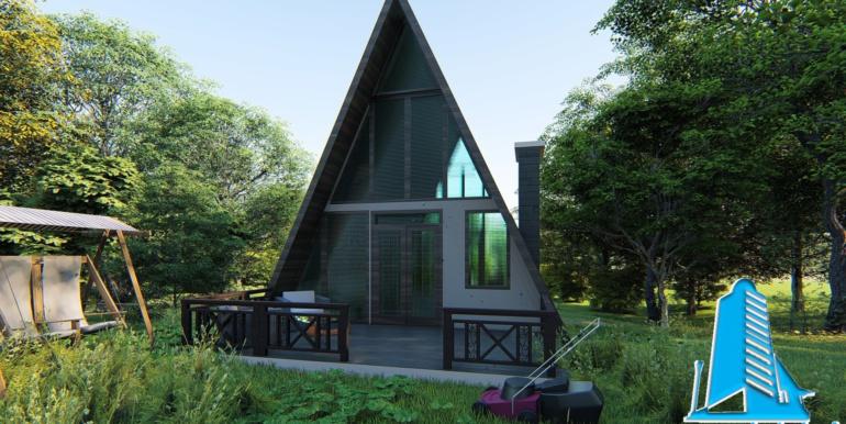 casa de odihna din lemn cu acoperis ascutit de tip finlandez pe structura de beton