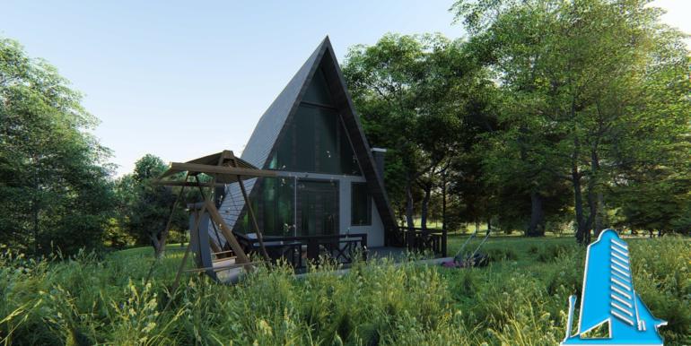 casa de vacanta din lemn cu acoperis ascutit de tip finlandez pe structura de beton