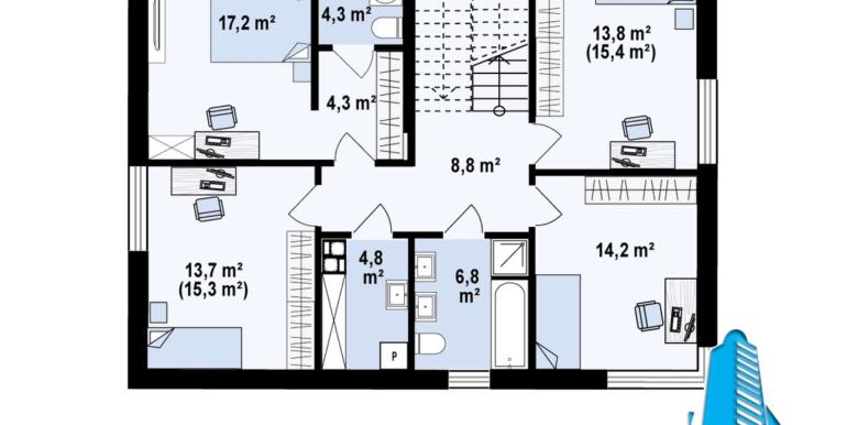 pal etaj Proiect de casa cu doua etaje si garaj pentru un automobil