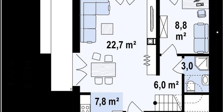 parter Proiect de casa cu doua etaje si terasa de vara