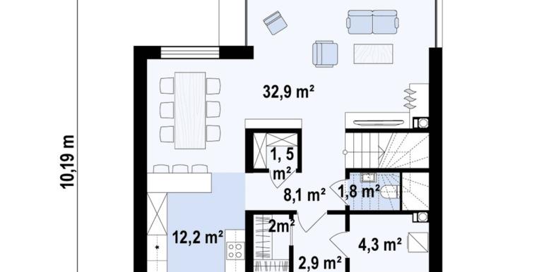 plan parter Proiect de casa cu doua etaje, acoperis plat si garaj pentru un automobil