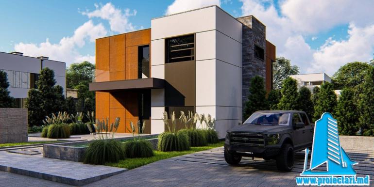 Loc de parcare Proiect de casa cu doua etaje cu acoperis plat si garaj pentru un automobil