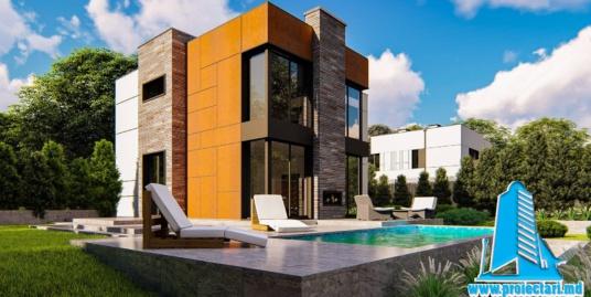 Proiect de casa cu doua etaje, acoperis plat siloc de parcare pentru 1 automobil – 210m2 – 101071